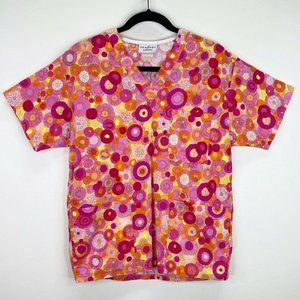 Peaches Uniforms Floral Scrub Top Shirt Size XS